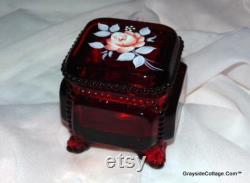 Vintage Vanity Set Matson Westmoreland Jewelry Box Powder Dresser Box Hand Painted Artist Signed FREE SHIPPING
