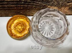 Vintage Victorian Vanity Powder Jar, Crystal Glass Powder Jar, Gold Tone Metal Angel Cherub Cover, Victorian Top, Vintage Glass Powder Box,