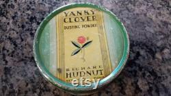 Vintage Yanky Clover Dusting Powder Tin with Some Powder Richard Hudnut New York Paris Art Deco Decor