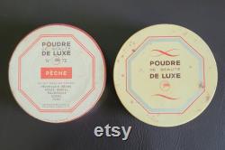 Vintage carton powder box (empty) marked Gibbs, Poudre de Beaute de Luxe, No 72, Peche, France