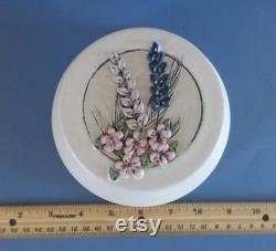 Vintage floral ceramic powder jar, covered candy dish, signed Roberts