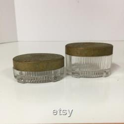 Vintage powder jar, powder tin, set, Art Deco powder jar, glass jar, make up, crystal jar, trinket box, powder box, collectibles,