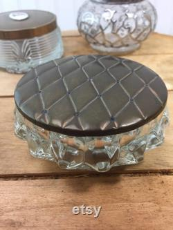 Vintage powder jar, powder tin, set, Victorian powder jar,make up,crystal jar,powder box,collectibles, vanity ,powder container,