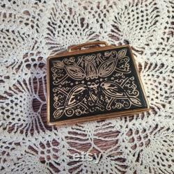 Vintage rarity old Soviet black and gold powder box. Powder box USSR. Ladies accessory made in the Soviet Union.