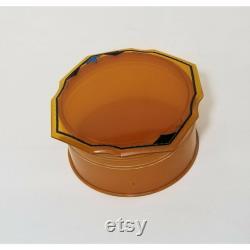 Vtg Art Deco Amber Celluloid Plastic Scalloped Edge Vanity Powder Trinket Box