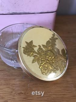Vtg Glass Powder Puff Jar, Vanity Jar Clear Ribbed Glass Footed Trinket Box Gold Tone Lid with 3D Roses