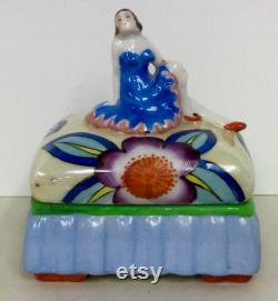 Well Done Trico Made in Japan Art Deco Figural Woman Covered Powder Dish