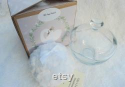 White Boxed Boudoir Set. Powder Puff and Glass Lidded Powder Dish. Gift for Her. Pamper Gift. Boxed.
