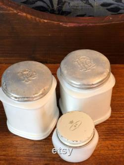 White Milk Glass Vanity Jars, Set of 3, Two Approx. 2 3 4 H x 2 W, Face Cream Jar, White Milkglass, Curated Collection