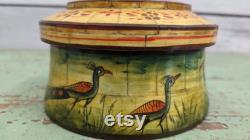 Wooden artware tobacco powder box Wooden round shape box Decorative box Indian art Indian handicrafts Handmade hand painted 31932