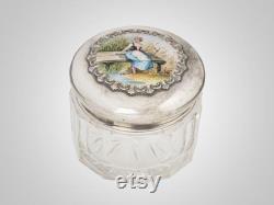 scenic enameled sterling cut glass vanity jar