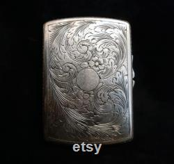 vintage floral style square silver jewelry box