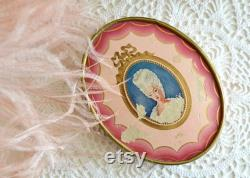 vintage small Du Barry Face Powder box vanity decor marie antoinette victorian powder box
